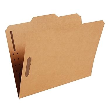 Staples® Heavy-Duty Reinforced Fastener Folders, Letter, Kraft, 50/Box