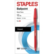 Staples® Comfort Stic® Ballpoint Pens Med 1.0MM, Red 12PK (29242)