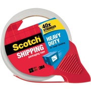 "Scotch® Heavy Duty Shipping Tape with Dispensers 3850-RD, Clear, 1.88"" x 54.6 yds, 1 Roll on a Refillable Dispenser"
