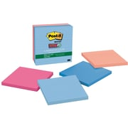 """Post-it® Recycled Super Sticky Notes, 4"""" x 4"""", Bali Collection, Lined, 4 Pads/Pack"""
