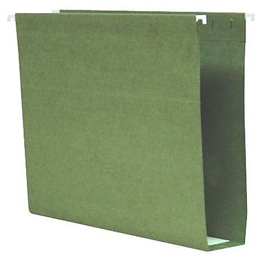 Smead® 100% Recycled Box-Bottom Hanging File Folders, Letter, 2in. Capacity, Standard Green, 25/Box