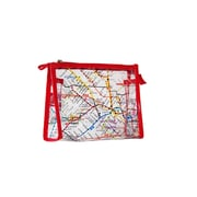 New York City Subwayline Clear Map Cosmetics Case, Large, Red