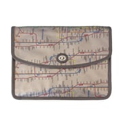 New York City Subwayline Envelope Clutch, Silver