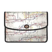New York City Subwayline Envelope Clutch, White
