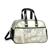 New York City Subwayline Map Gym Bag, Beige w/Black Trim