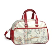New York City Subwayline Map Gym Bag, Beige w/Red Trim
