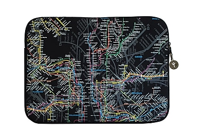 New York City Subwayline Map Neoprene Case for 15.9 Laptops, Black