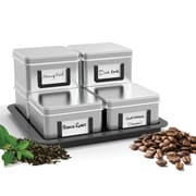 Mind Reader ' Stax'  loose leaf tea/ Coffee canisters with tray-  7 pc set
