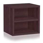 Way Basics Eco Stackable Connect Storage Cube with Shelf Espresso (C-SCUBE-EO)