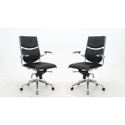 Manhattan Comfort MC-646-B  Ergonomic High Back Verdi Office Chair in Black - Set of 2