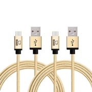Rhino micro USB  Cable -6.6 Feet Gold - Tough-Braided Extra-Strong Jacket - Sync/Charge,  5000+ Bend Lifespan  - 2PK
