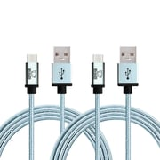 Rhino micro USB  Cable -3.3 Feet Coral Blue-Tough-Braided Extra-Strong Jacket - Sync/Charge,  5000+ Bend Lifespan  - 2PK
