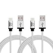 Rhino micro USB  Cable -6.6 Feet White - Tough-Braided Extra-Strong Jacket - Sync/Charge,  5000+ Bend Lifespan  - 2PK