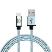 Rhino micro USB  Cable -3.3 Feet Coral Blue-Tough-Braided Extra-Strong Jacket - Sync/Charge,  5000+ Bend Lifespan  - 1PK