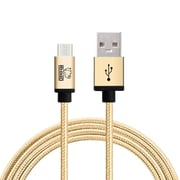 Rhino micro USB  Cable -6.6 Feet Gold - Tough-Braided Extra-Strong Jacket - Sync/Charge,  5000+ Bend Lifespan  - 1PK