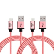Rhino micro USB  Cable -6.6 Feet Rose Gold- Tough-Braided Extra-Strong Jacket - Sync/Charge,  5000+ Bend Lifespan  - 2PK
