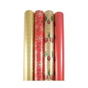 JAM Paper® Christmas Gift Wrapping Paper Set, Folksy Holiday, 4/pack