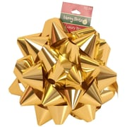 "JAM Paper® Gift Bows, Large, 7"" Diameter, Gold Metallic, 24/carton"