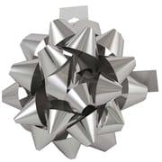 """JAM Paper® Gift Bows, Large, 7"""" Diameter, Silver Metallic, 24/carton"""