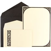 JAM Paper® Wedding Invitation Combo Set, 1 Small & 1 Large, Ecru Scroll Border Cards with Black Metallic Envelopes, 150/pack