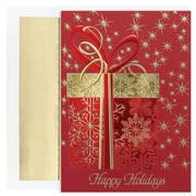 JAM Paper® Christmas Card Set, Glittering Gift Holiday Cards, 16/pack
