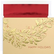JAM Paper® Christmas Card Set, Gold Holly Holiday Cards, 16/pack