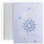 JAM Paper® Christmas Card Set, Blue Shimmering Snowflakes Holiday Cards, 16/pack