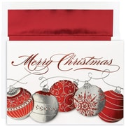 JAM Paper® Christmas Card Set, Christmas Ornaments Holiday Cards, 16/pack