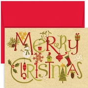 JAM Paper® Christmas Card Set, Crackle Christmas Holiday Cards, 18/pack