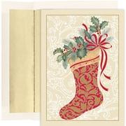 JAM Paper® Christmas Card Set, Elegant Stocking Holiday Cards, 16/pack
