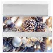 JAM Paper® Christmas Card Set, Festive Pinecones Holiday Cards, 16/pack
