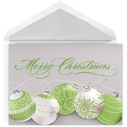 JAM Paper® Christmas Card Set, Green Ornaments Holiday Cards, 12/pack