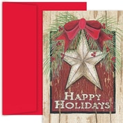 JAM Paper® Christmas Card Set, Holiday Star Holiday Cards, 18/pack