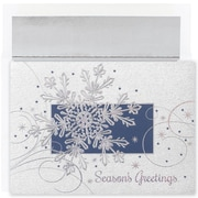JAM Paper® Christmas Card Set, Single Snowflake Holiday Cards, 16/pack