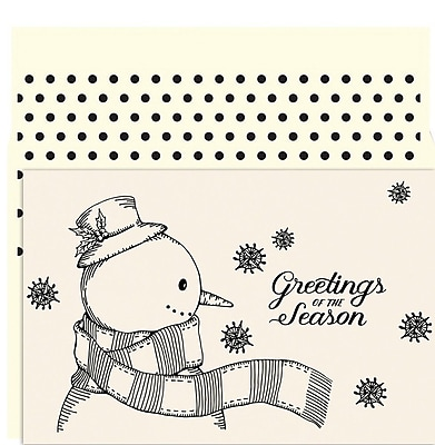JAM Paper Christmas Card Set, Vintage Snowman Holiday Cards, 18/pack 2478315