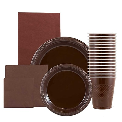 JAM Paper Party Supply Assortment, Brown, Plates (2 Sizes), Napkins (2 Sizes), Cups (1pk) & Tablecloth (1pk), 6 Packs Total 2478257