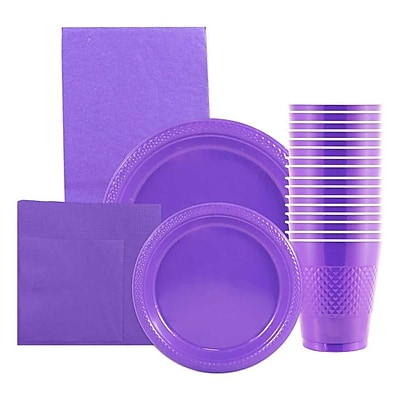 JAM Paper Party Supply Assortment, Purple, Plates (2 Sizes), Napkins (2 Sizes), Cups (1pk) & Tablecloth (1pk), 6 Items Total 2478242