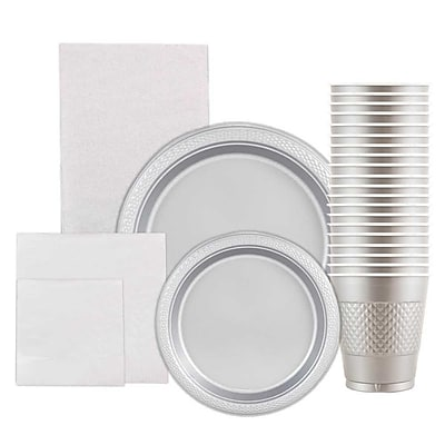 JAM Paper Party Supply Assortment, Silver, Plates (2 Sizes), Napkins (2 Sizes), Cups (1pk) & Tablecloth (1pk), 6 Items Total 2478229