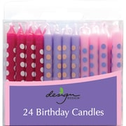 """JAM Paper® Birthday Candle Sticks, Polka Dot Design Candles, 2 3/8"""" x 1/4"""", Violet, Fuchsia & Baby Pink with Stripes, 24/pack"""