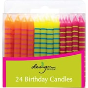 "JAM Paper® Birthday Candle Sticks, Striped Design Candles, 2 3/8"" x 1/4"", Orange, Yellow & Fuchsia with Stripes, 24/pack"
