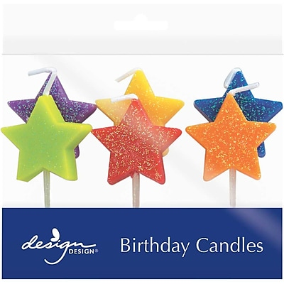 """""JAM Paper Specialty Birthday Candles, Glitter Stars Birthday Candle Set, 2 3/4"""""""" x 3/4"""""""", 6/pack"""""" 2478188"