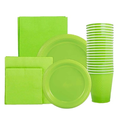 JAM Paper Party Supply Assortment, Lime Green, Plates (2 Sizes), Napkins (2sizes), Cups (1pk) & Tablecloth (1pk), 6 Items Total 2478248