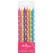 "JAM Paper® Birthday Candle Sticks, Pattern Design Candle Sticks, 4"" x 1/4"", Brite Color with Polka Dots Assortment, 12/pack"
