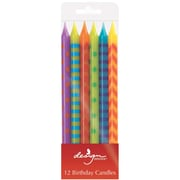 "JAM Paper® Birthday Candle Sticks, Pattern Design Candle Sticks, 4"" x 1/4"", Multi Color Assortment, 12/pack"