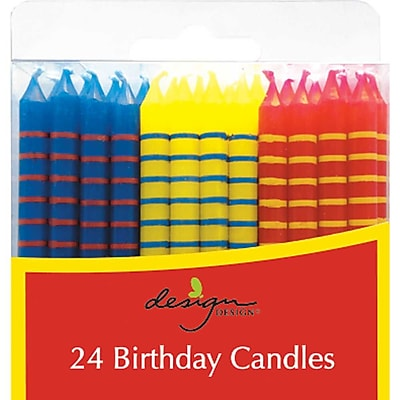 """""JAM Paper Birthday Candle Sticks, Striped Design Candles, 2 3/8"""""""" x 1/4"""""""", Blue, Yellow & Red with Stripes, 24/pack"""""" 2478208"