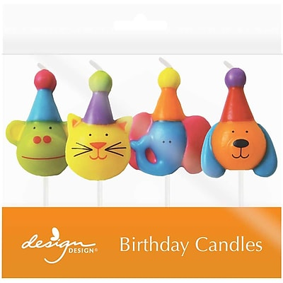 """""JAM Paper Specialty Birthday Candles, Party Animals Birthday Candle Set, 2 3/4"""""""" x 1"""""""", 4/pack"""""" 2478185"