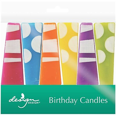 """""""""""JAM Paper Specialty Birthday Candles, Party Pillars Birthday Candle Set, 2 3/4"""""""""""""""" x 1"""""""""""""""", 6/pack"""""""""""" 2478184"""