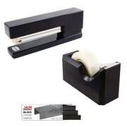 JAM Paper® Office & Desk Sets, (1) Tape Dispenser (1) Stapler (1) Pack of Staples, Black, 2/pack