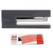 JAM Paper® Office & Desk Sets, (1) Stapler (1) Pack of Staples, Grey and Red, 2/pack