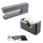 JAM Paper® Office & Desk Sets, (1) Tape Dispenser (1) Stapler (1) Pack of Staples, Grey and Black, 3/pack